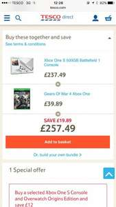Xbox One S 500gb + Battlefield 1 + Gears of War 4 - £257.49 @ Tesco Direct