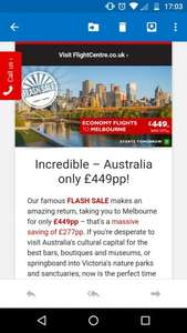 Flash Sale Return Flights to Melbourne £449 starts 10am 8/11/2016 @ Flight Centre