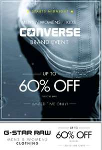 USC UPTO 60% OFF G STAR AND CONVERSE SELECTED LINES STARTS MIDNIGHT (LIMITED TIME ONLY) MENS AND LADIES WEAR.