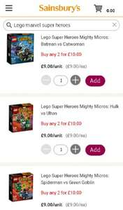 Lego Super Heroes Mighty Micros from Sainsbury's Buy any 2 for £10.00 RRP £9 each! @ Sainsburys