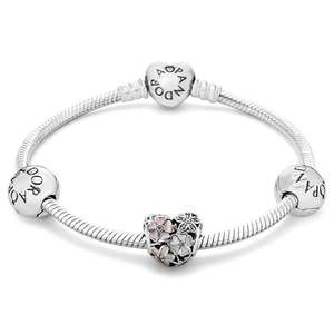 Pandora poetic bloom charm bracelet with heart charm & 2 x spacers was £160 now £99 plus spend another £26 & get ltd edition Pandora Christmas 2016 Ornament for Free @ Argento