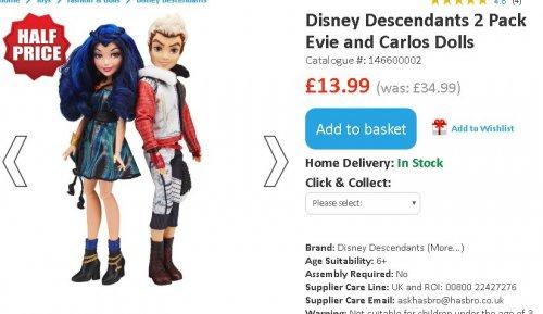 Disney Descendants dolls £13.99 for 2 pack @ Smyths