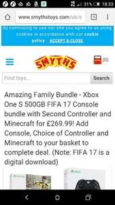 Xbox One S 500GB FIFA 17 Console bundle with Second Controller and Minecraft for £269.99! Add Console, Choice of Controller and Minecraft to your basket to complete deal. (Note: FIFA 17 is a digital download)