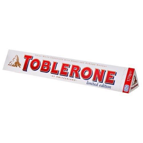170g white chocolate toblerone with honey & almond nougat £1.00 exclusive to poundland