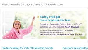 25% off if you exchange Barclays Freedom Rewards TODAY
