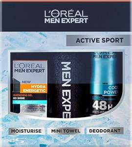 Loreal Men Expert Active Sport Gift Set only £5 (Prime) @ Amazon Includes: Moisturiser + Mini Towel + Anti-Perspirant
