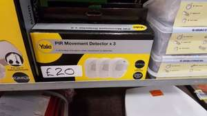 YALE...Pir Movement detectors X 3 only £20 from Homebase Newark . online £45. probably not be national