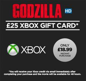 £25 of Xbox credit + Godzilla HD movie to rent – £18.99 /  £50 pounds of Xbox credit + Godzilla HD movie to rent £39.99 @ Wuaki