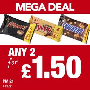 8 Full Sized Bars of Mars/Twix or Snickers for £1.50 at Premier Stores