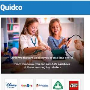 *THURS ONLY* 15% QUIDCO cashback @ Disney store, Toys R Us, ELC, LEGO The Entertainer