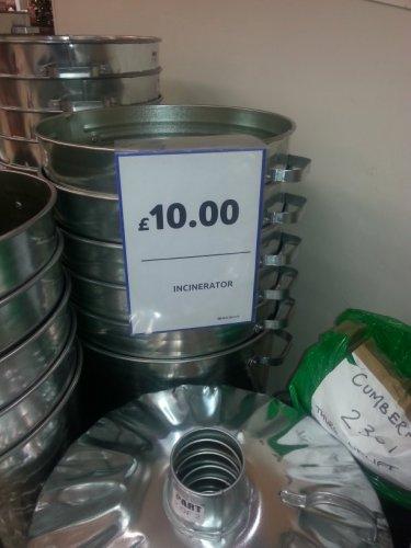 galvanised incinerator bin instore at Tesco (Cumbernauld and Edinburgh)) for £10