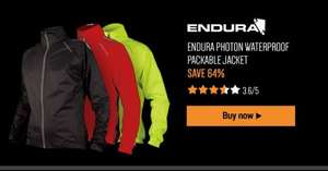 Endura Photon Waterproof packable jacket in 3 colours was £69.99 now £24.99 save 64% delivered @ Chain reaction cycles