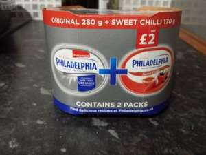 Philadelphia two pack of original 280g and chili 170g, or chesse and chive option available 59p @ Heron