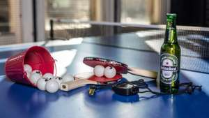 Play Table Tennis with a friend free in Leeds City Centre Roxy bar/venue and get 2 pints of Heineken free too