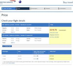 Cheap scheduled return flights from London Heathrow during the school summer holidays @ British Airways
