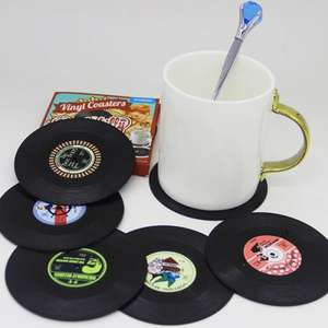 SIX Retro Vinyl Record coasters / mats £1.99 delivered using code @ Sammydress