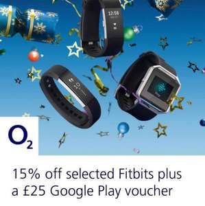 15% Fitbit + £25 Google Play Voucher @ O2 (Fitbit Charge 2 £110)