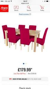 Dining table and 6 fabric chairs from Argos - £143.99