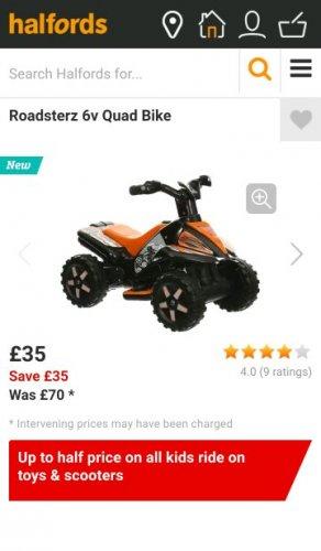 Roadsterz 6v Quad Bike 50% OFF - £35 @ Halfords (Free C&C)