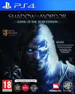 """Shadow of Mordor Game of the year edition used PS4 £10.23 with """"ace20"""" code at music magpie."""