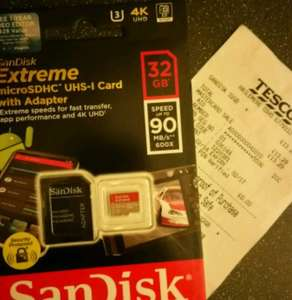 SanDisk Extreme 32GB microSDHC UHS 1 Card and adapter £13.29 @ Tesco