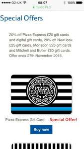 20% off various giftcards pizza exp etc Tesco Gift Cards