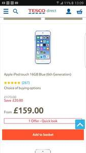 Ipod touch 6th generation 16gb £159 tesco direct with free delivery
