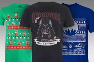 2 t-shirts inc alternative Christmas ones - Star Wars merry sithmas, Pacman, Batman, Chewbacca lights, Elf and loads more £18 delivered @ IWOOT