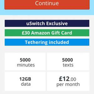 Talk mobile sim only 5000 mins and texts 12GB DATA - £30 amazon voucher!!!! 12 month contract @ £12pm = £144