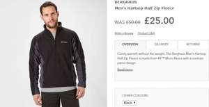Millets - Men's Berghaus Hartsop Half Zip Fleece £25 (50% off)