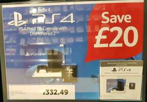 PS4 Pro 1TB Console + Dishonored 2 £332.49 Instore @ Tesco