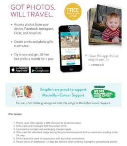 Snapfish 50 FREE 6x4 prints a month for a year via the Snapfish App (pay £2.99 P&P)