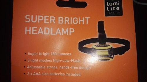 Super Bright Headlamp 180 Lumens COB LED - Home Bargains Instore- £2.49