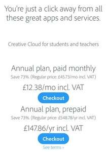 Adobe Creative Cloud all Apps 70%off teachers and students.