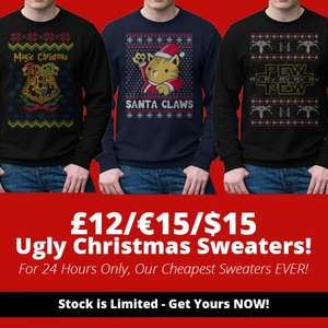 Ugly Christmas Sweaters for £12 on Qwertee.com for 24 Hours