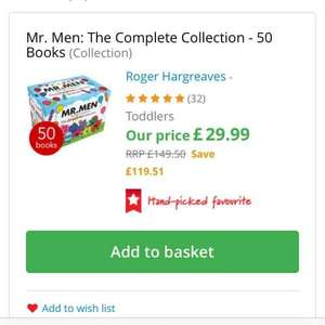 Mr men complete collection 50 books £29.49 (delivered free) The book people