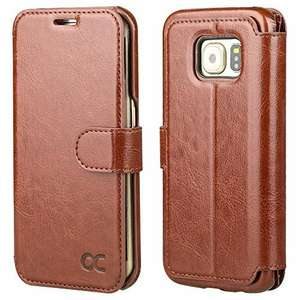 Samsung Galaxy S6 Edge Case [Slim Fit] Leather Wallet Case For Samsung Galaxy S6 Edge Devices - Brown sold by Ocase and Fulfilled by Amazon @ £6.99 (Prime) / £10.98 (non Prime)