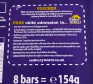 free child entry to Cadbury world with selection box