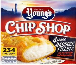 Young's Chip Shop Large Cod (54%) or Haddock (54%) Fillets in Crisp Bubbly Batter (4 per pack - 480g) was £4.00 now £2.50 (Rollback Deal) @ Asda