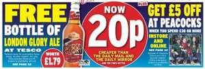 £5 off a £30 spend at PEACOCKS Voucher - Online and In store - Plus Free bottle of London Glory Ale Voucher (Worth £1.79) redeemable at TESCO - DAILY EXPRESS Saturday (80p)