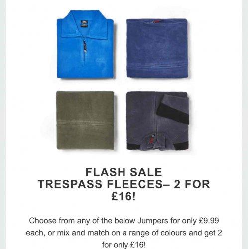 Trespass Fleeces - £9.99 or 2 for £16 @ Zavvi