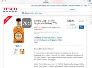 Cardhu gold reserve single malt whiskey £25 at Tesco