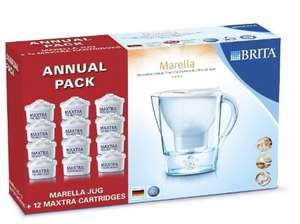 BRITA Marella Cool Water Filter Jug with 12 Cartridges - White, Annual Pack £29.99 Amazon Prime Exclusive