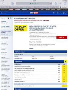 Sky Bet up to £50 in play bet refunded as withdrawable cash