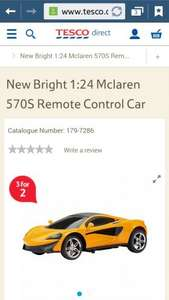 New Bright 1:24 Mclaren 570S Remote Control Car £6.48 down from £12.95 and on 3 for 2 @ Tesco