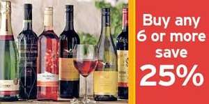 Sainsburys 25% off when you buy 6 bottles or more of wine