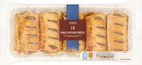 Tesco 10 Pork (27%) Sausage Rolls (600g) half price was £2.50 now £1.25 @ Tesco