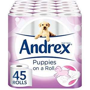 Andrex Gentle Clean, Puppies on a Roll Toilet Tissue Paper £14.99 Prime / £19.74 Non Prime @ Amazon