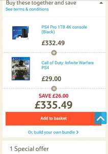 PS4 Pro 1TB 4K Console with Call of Duty: Infinite Warfare £335.49 @ Tesco Direct (Free C+C)