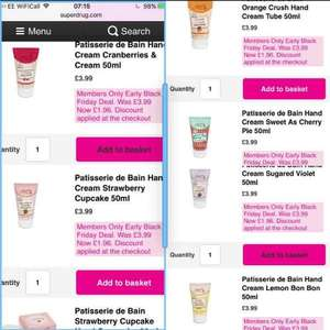 patisserie hand creams £1.96 with members card at Superdrug
